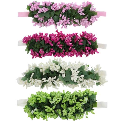 Cute Baby Headband with Flower Wreath /& Stems Soft Stretchy /& Pretty Colorful