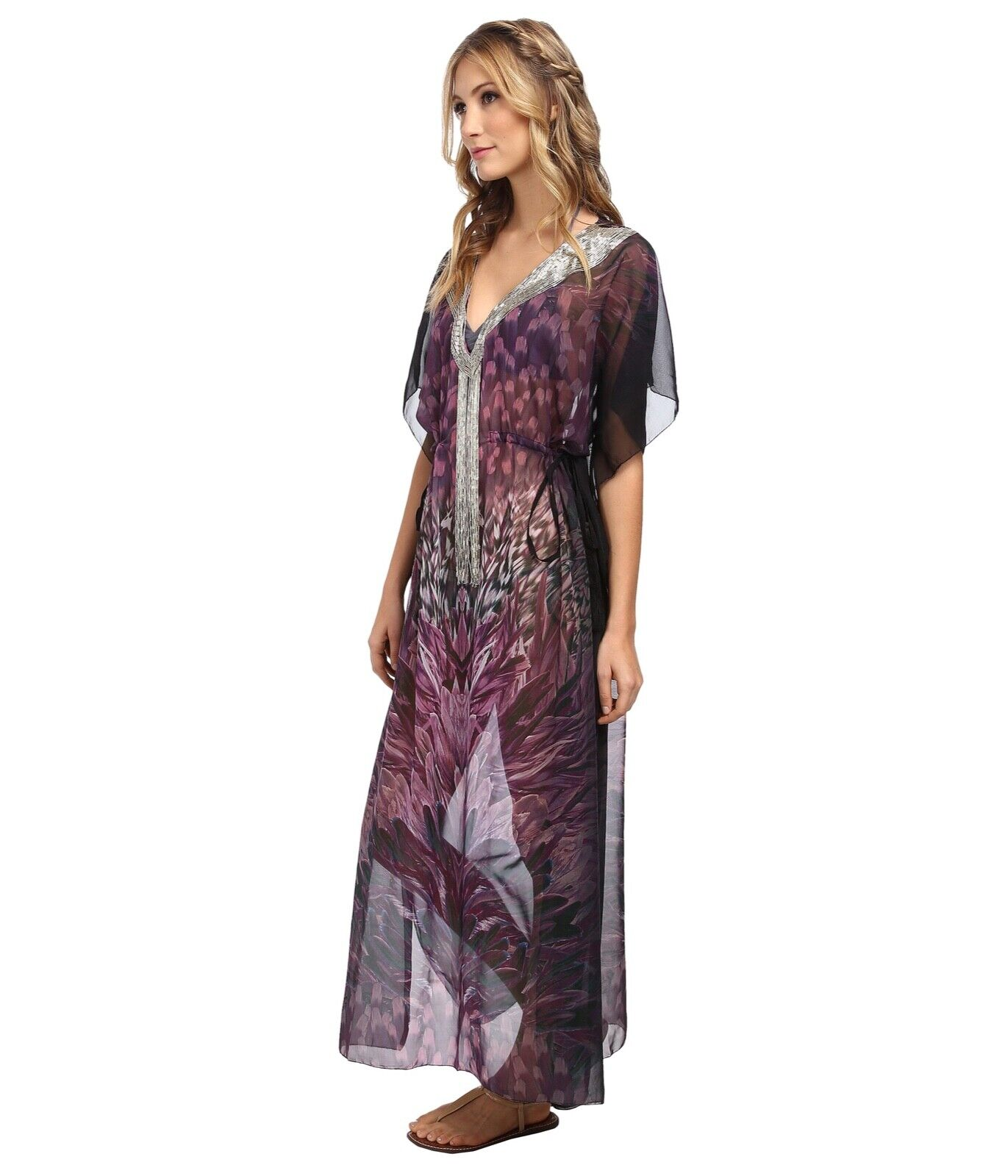 KAS New York Purple Beaded Women's Size XS Maxi Cover All  pool Beach