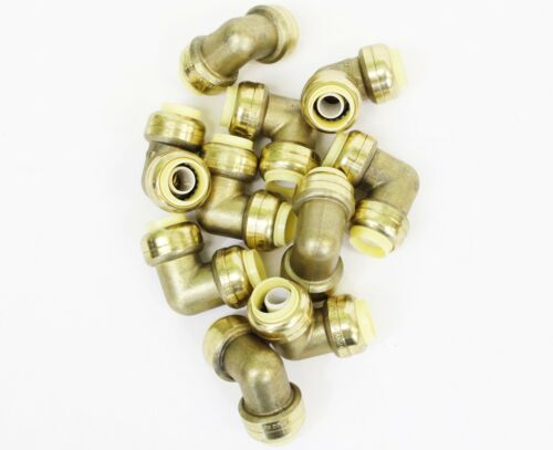 """1/"""" x 1/"""" Sharkbite Style Push Fit Elbow Fittings Lead Free Brass 10 Pieces"""