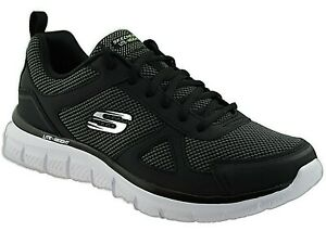 MENS BLACK TRACK BUCOLO LEATHER MESH SPORTS TRAINERS MEMORY FOAM SHOES UK 7-11