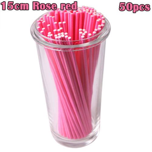 "50pcs//lot 4/""//6/"" Sugar Pop Sucker Solid Paper Sticks Popsicle Lolly Rod Lollipop"