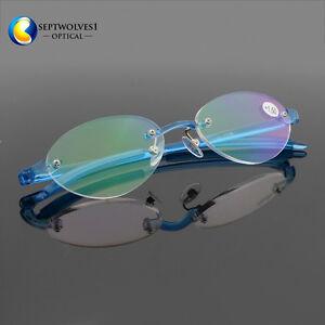 1771d18024 Image is loading Vintage-Oval-Flexible-TR90-Rimless-Reading-Glasses-Reader-