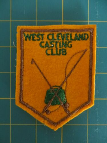 Vintage Mint Fishing Felt Patch 3 x 4 inch WEST CLEVELAND FISHING CLUB