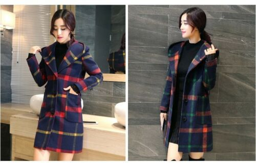 2018Women/'s Slim wool trench coat plaid Cashmere jacket hooded parka overcoat