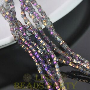 100pcs-3mm-Cube-Square-Faceted-Crystal-Glass-Loose-Spacer-Beads-Purple-Colorized