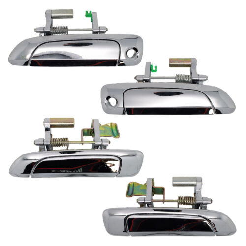 Front Chrome Rear Right Left Outside Door Handles Set