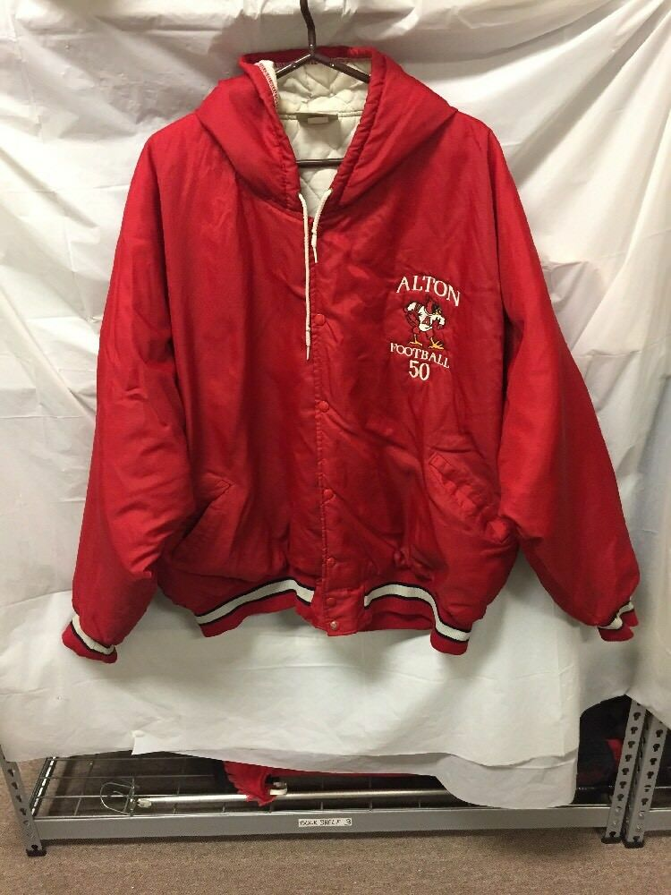 High School Football männer's Hooded Winter Coat Sz XL Alton Football 50 rotBIRDS