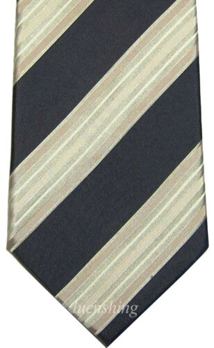 NEW 100/% SILK MEN/'S NECK TIE necktie charcoal /& gold striped wedding prom formal