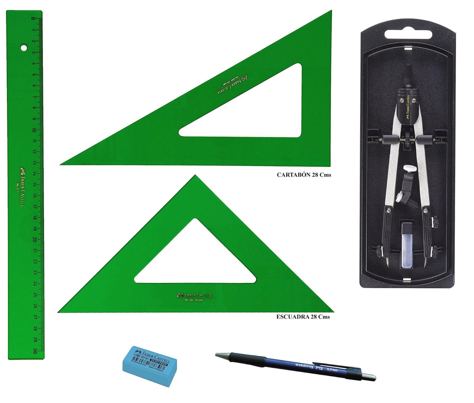 Set Disegno Tecnico Faber Castell Righello 2 Squadre Matita Compasso con Ricambi