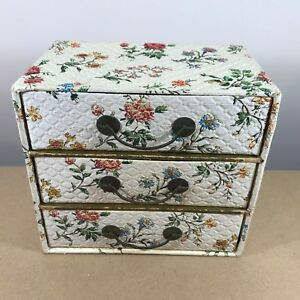 Details about SHABBY CHIC STYLED JEWELLERY STORAGE BOX / CHEST   TRIPLE  COMPARTMENT DRAWS