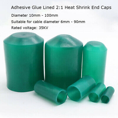 10 to 100mm Heat Shrink Heatshrink 2:1 End Cap Glue-Lined Tube Tubing Wrap Green