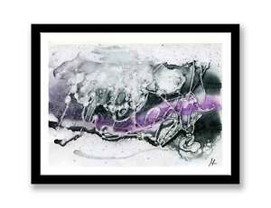 Black-purple-abstract-original-ink-abstract-painting-unique-gift
