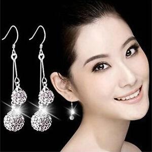 925-Silver-Double-Crystal-Ball-Ear-Drop-Earrings-Women-Fashion-Jewelry-Xmas-Gift