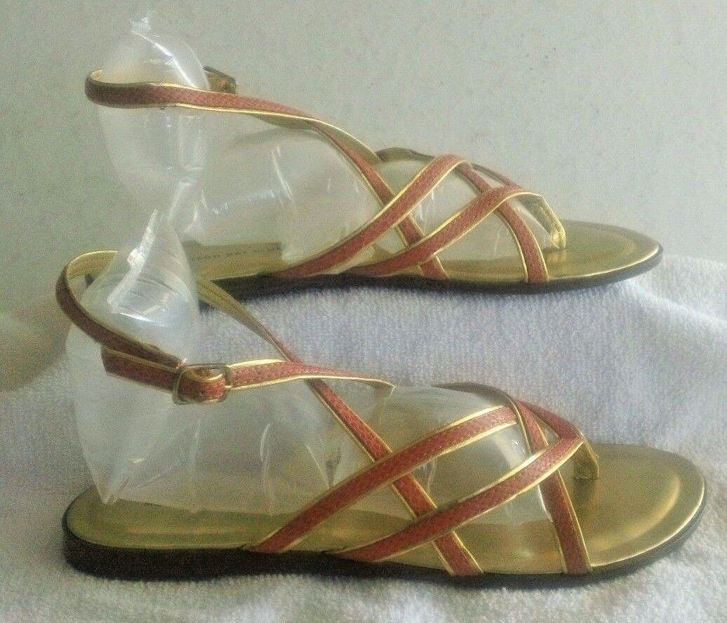 Montego Bay Club Strappy Flat Sandal ½, Shoes, Women's Size 8 ½, Sandal Orange & Gold 53c187