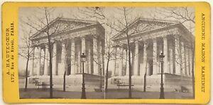 Parigi-Chiesa-Da-La-Madeleine-Foto-Stereo-Vintage-Albumina-c1870