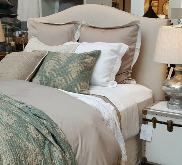 Pottery Barn Tencel full queen duvet simply taupe 2 Euro  shams New w tag