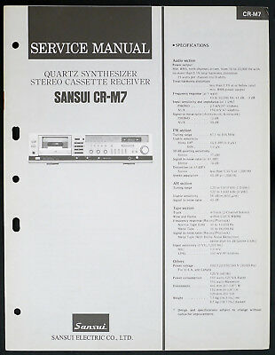 Sansui Cr-m7 Original Synthesizer Stereo Cassette Deck Service-manual O153 SorgfäLtige FäRbeprozesse Tv, Video & Audio