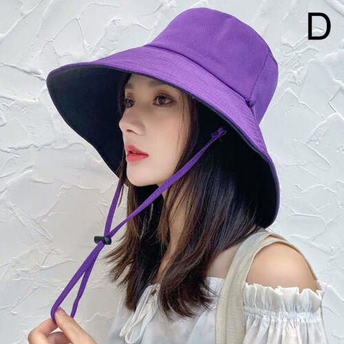Women Anti-UV Cap Cozy Wide Brim Summer Beach Cotton Sun Bucket Hat Cap