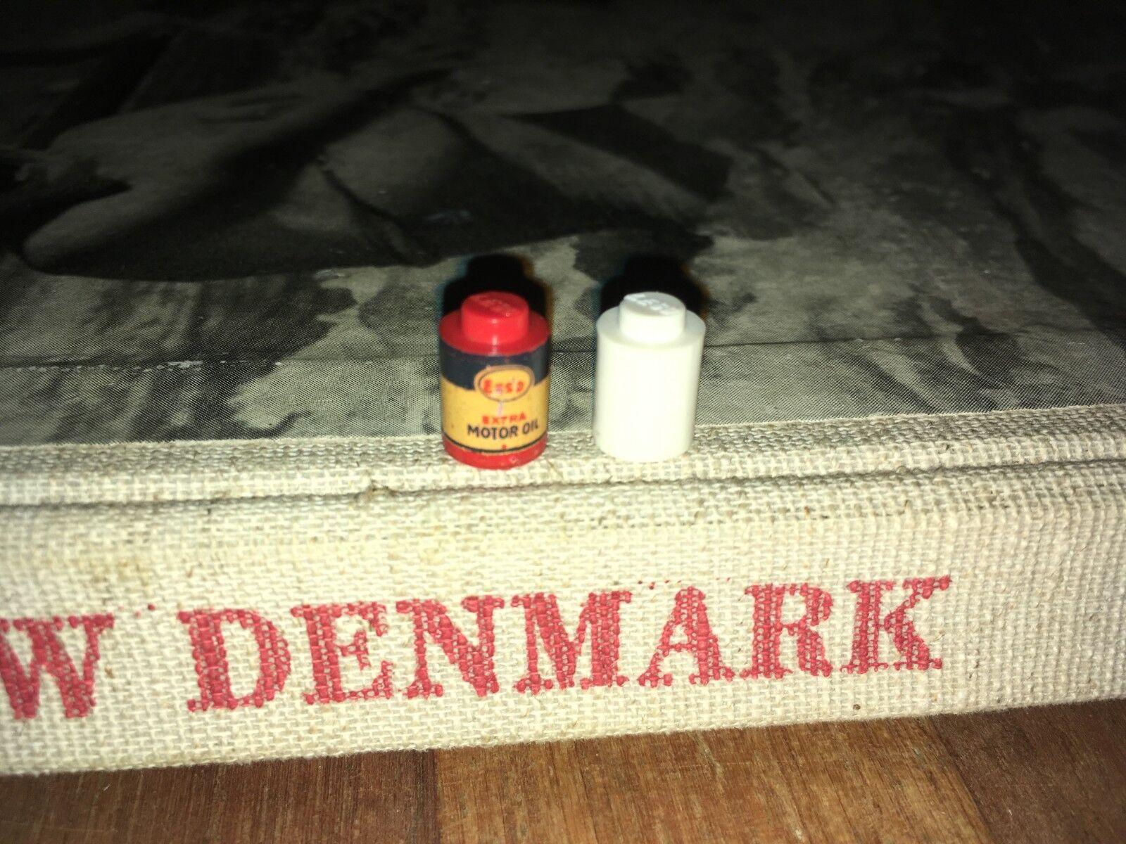 VINTAGE LEGO DENMARK MURSTEN 1950S ESSO EXTRA MOTOR OIL & WHITE DRUM ULTRA RARE
