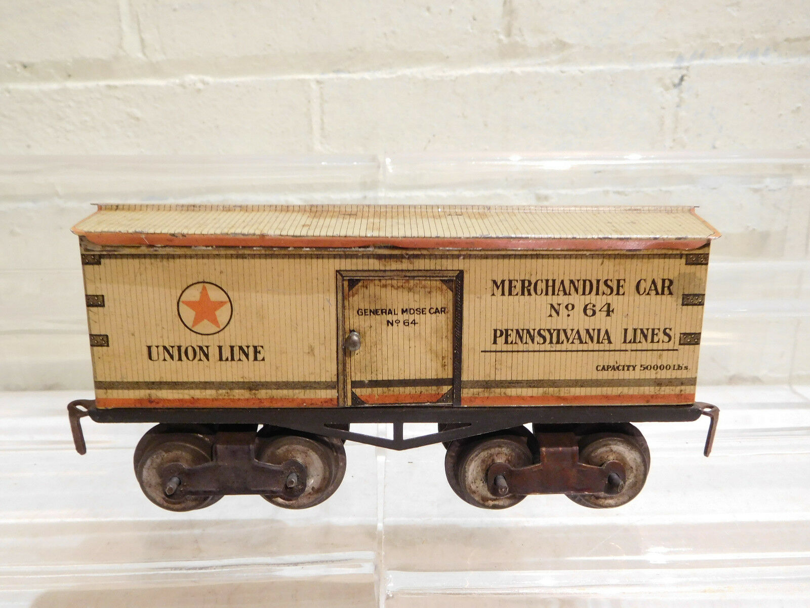 IVES Early Prewar Litho O Gauge 64 Union Line Boxcar