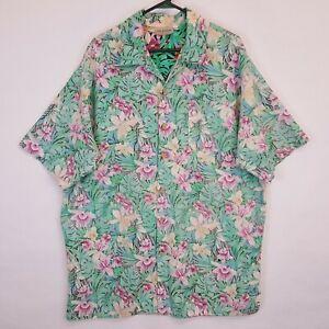 Mix-Studio-Hawaiian-Floral-Reverse-Print-Aloha-Shirt-Sz-2XL-Tall-2XLT-Vtg-USA