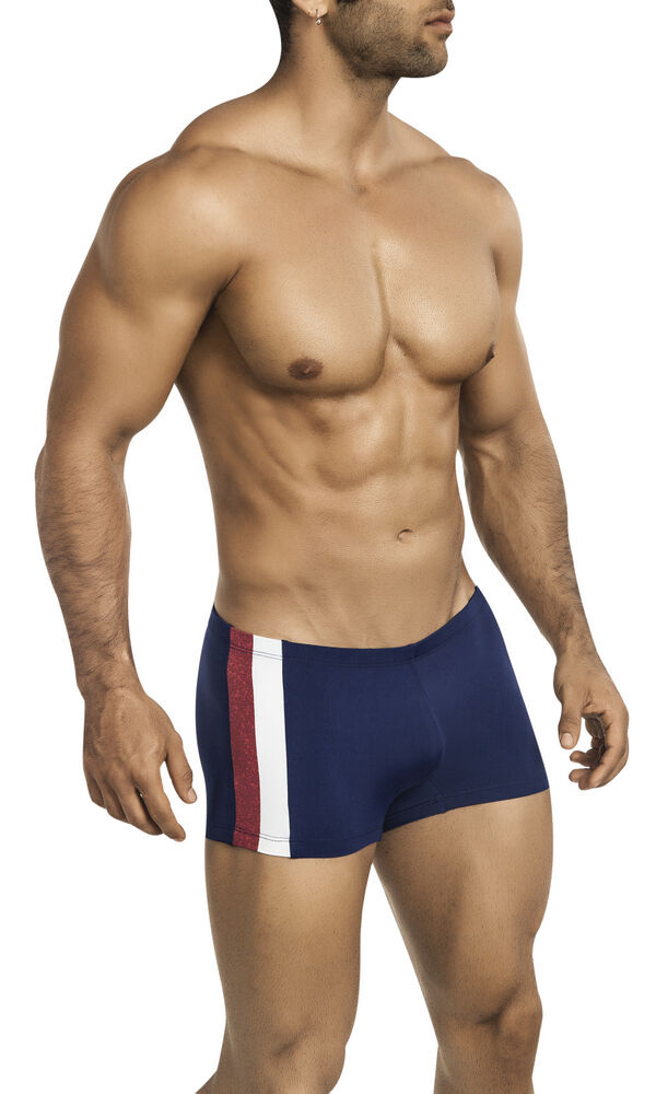 Patriotic Men's Squarecut Swimsuit in Navy, Red & White by Vuthy Sim - 435