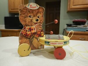 Vintage Fisher Price TEDDY ZILO Pull Toy