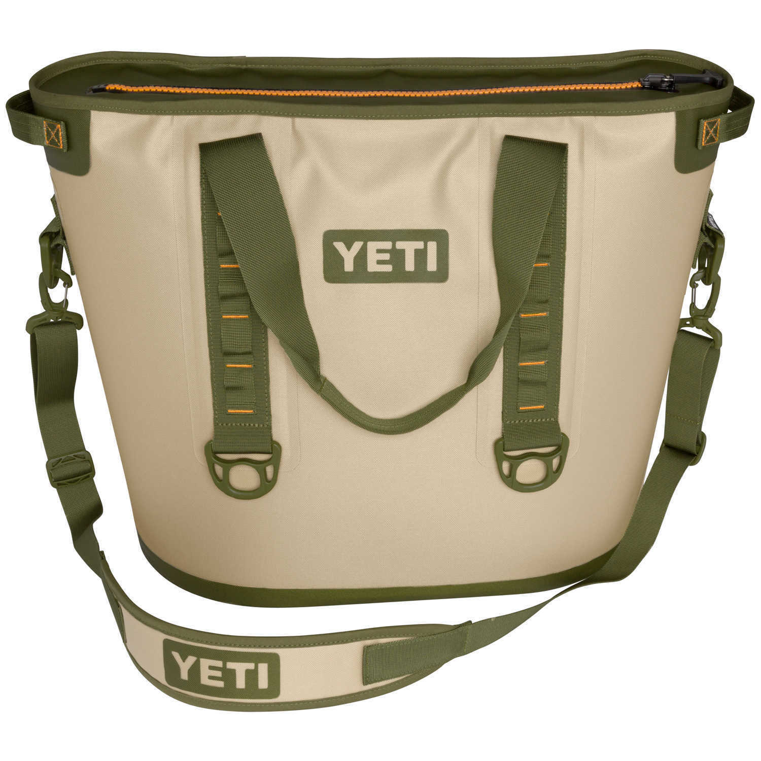 YETI Hopper Two 30 Portable Cooler Field Tan Blaze orange