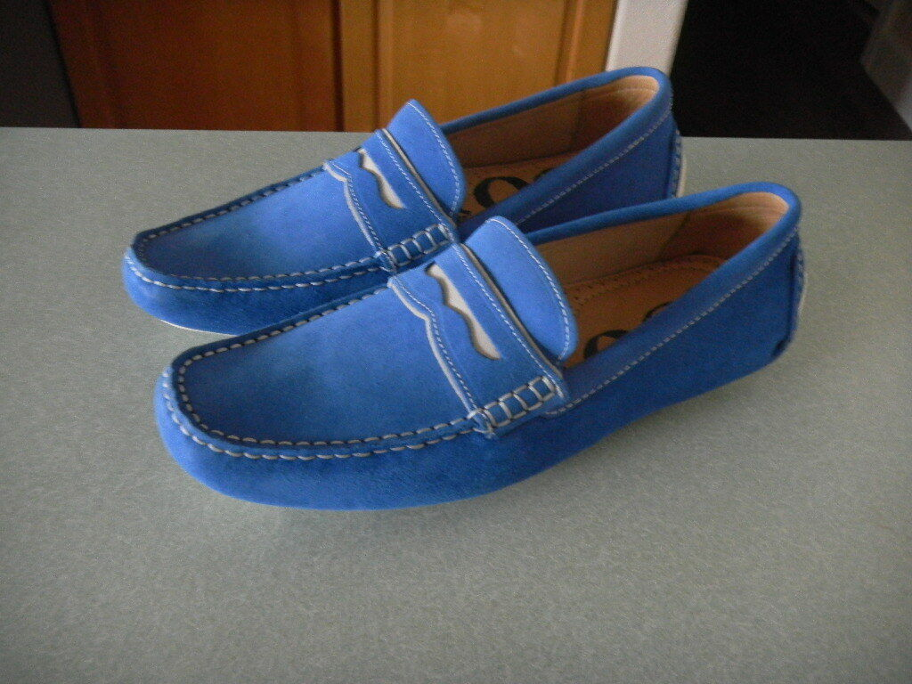 New 1901 Blue Suede Leather Driving Moccasin Penny Loafer 8 M