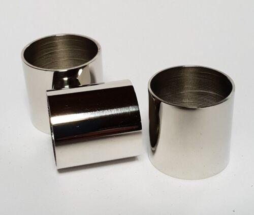 3 x PLAIN NICKEL-SILVER COLLARS 20mm 21mm /& 22mm i//d for Walking Stick Making