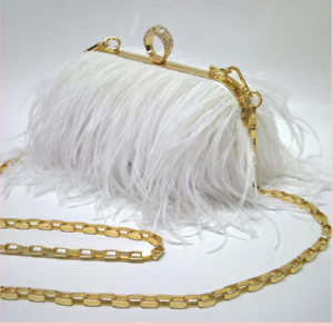 Plush feather Fashion handbag Purse present gift