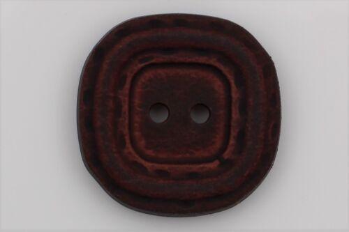 Plana de plástico botones rojo marrón 2 agujeros óptica piel 23mm 6 trozo