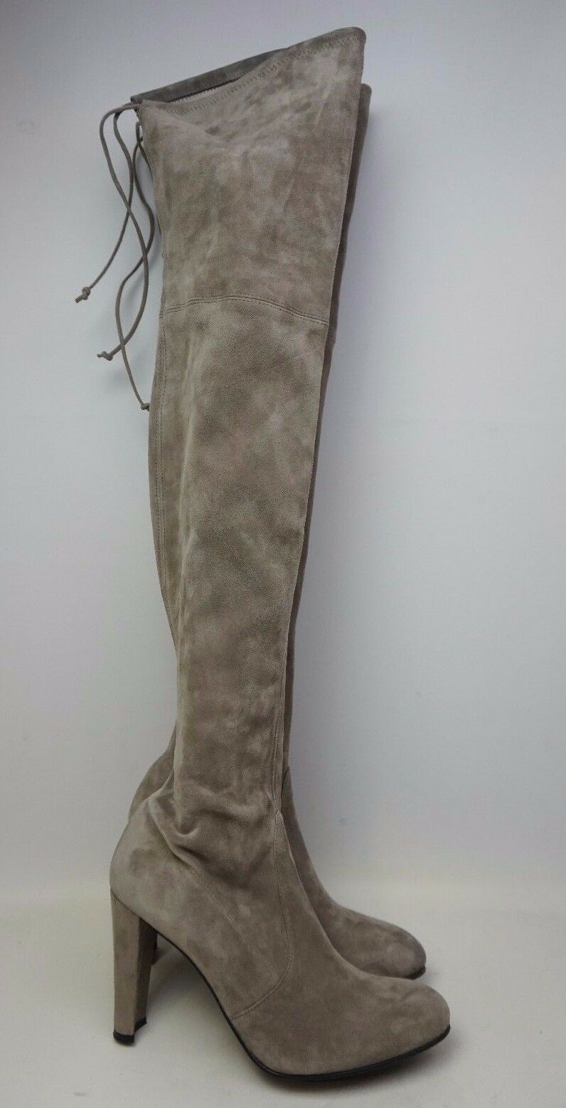 Stuart Weitzman Highland Over the Knee Praline Grey Suede Boots Size 11 M