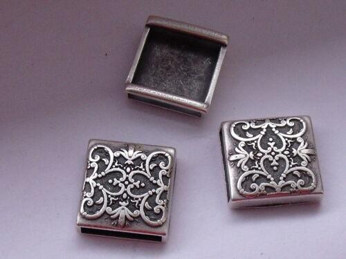 4 Stück Zierteil Metall Trachten Applikation 17 mm altsilber NEU rostfrei #647#