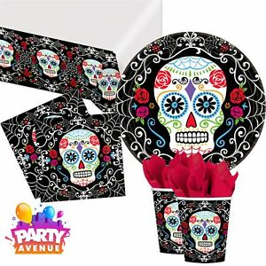 f155a40bf8277 Day of the Dead Tableware Halloween Mexican Skeleton Party Tableware ...
