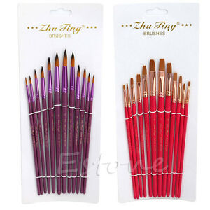 12Pcs-Artist-Nylon-Hair-Paint-Brush-Flat-Tip-Pointed-Head-Watercolor-Gouache-Set