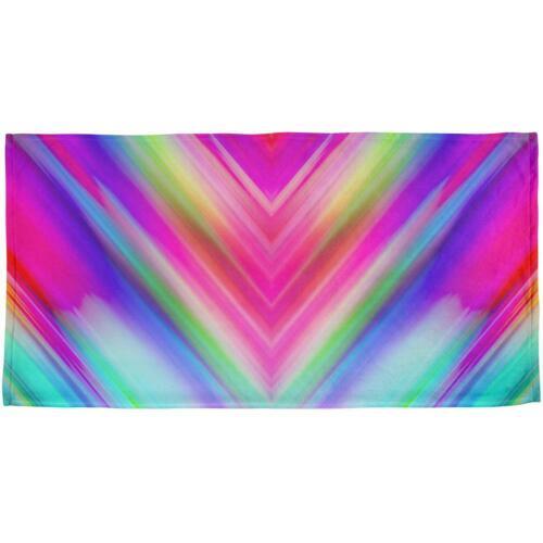 Mirrored Light Beams Pastel Rainbow All Over Beach Towel