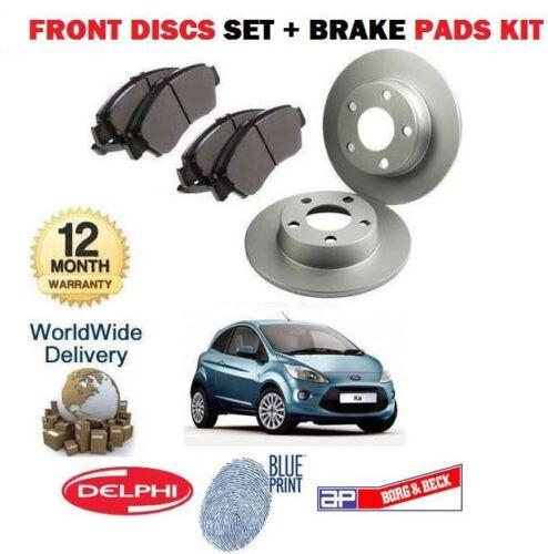 /& GT nouveau jeu de disques de frein AVANT ET PADS Disque Kit Pour FORD KA 1.2 I 1,25 2009