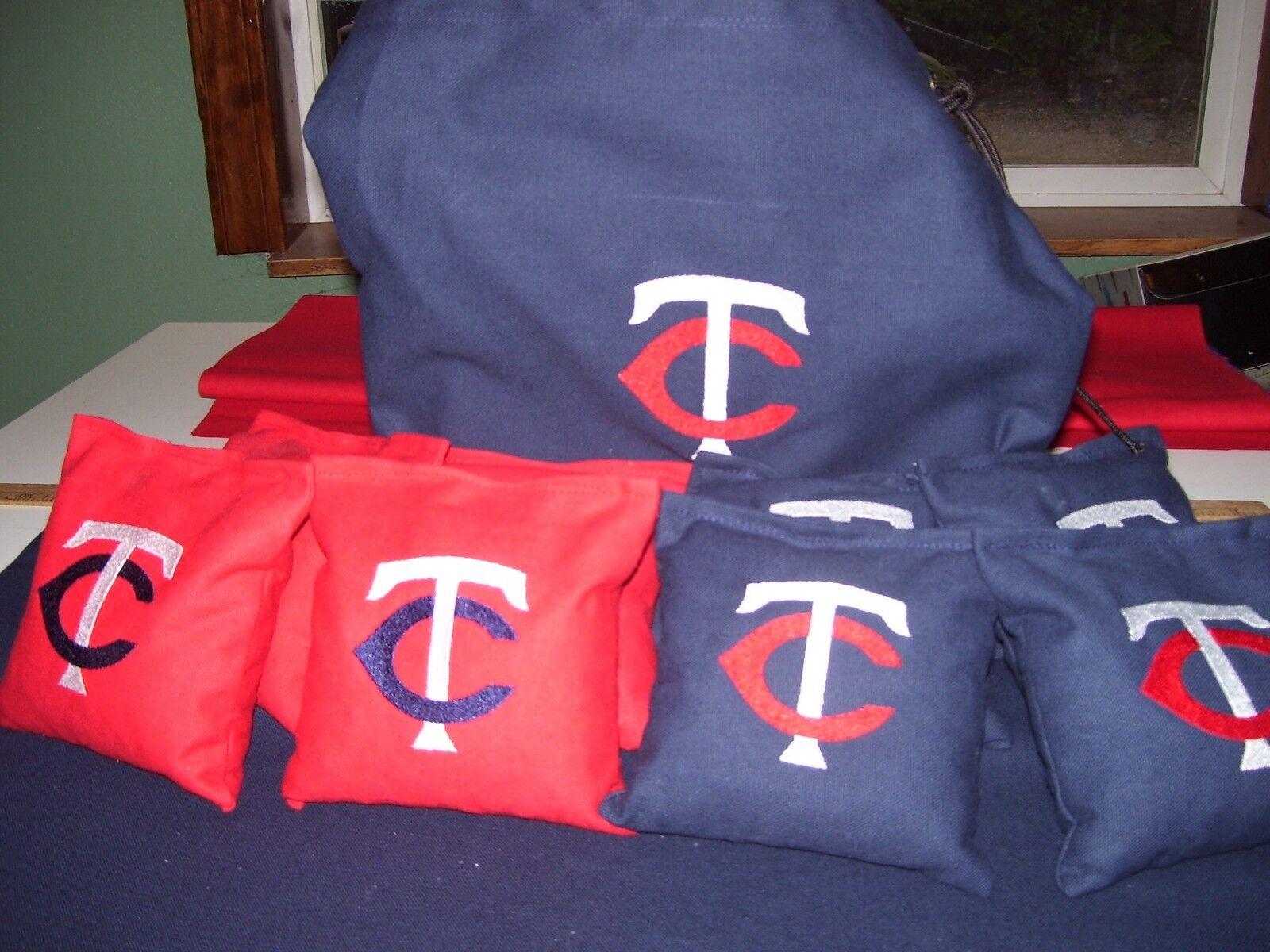 Minnesota Twins Embroidered Cornhole Corn Hole Set of 8 Bags W Storage Bag