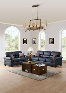 Black Bonded Leather 2pc Sofa Set Sofa & Loveseat Comfort Couch Plush Seating