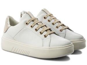 Dettagli su GEOX NHENBUS D828DA scarpe donna sneakers pelle tessuto casual zeppa bianco
