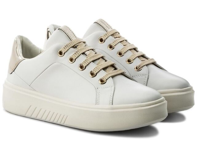 GEOX NHENBUS D828DA scarpe donna sneakers pelle tessuto casual zeppa bianco