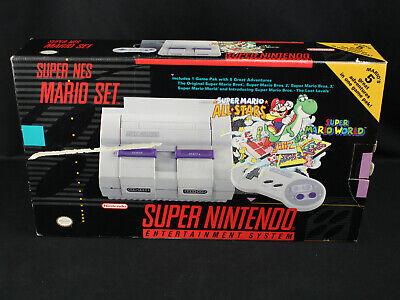 100 Cib Super Nintendo Nes Mario Set Snes W All Stars World Printed Box Ver Ebay