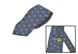 Cravatta-NAVIGARE-Cerchi-Blu-100-Seta-Made-in-Italy-Tie-Silk-Vintage