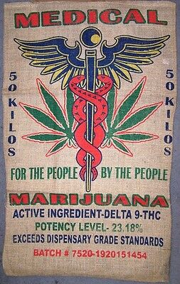 MEDICAL POT LEAF MARIJUANA  BURLAP BAG  pot leaf hippie sack