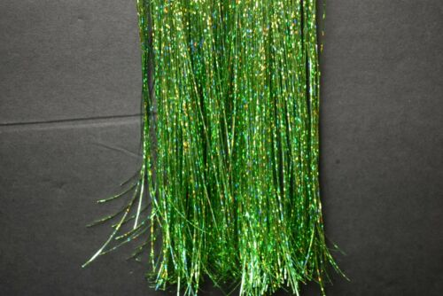 Hank GREEN HOLOGRAPHIC Strands FLASHABOU Tinsel Fly Flash Fly Tying