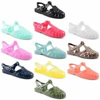 Womens Ladies Flat Summer Holiday Beach Retro Jelly Sandals Flip Flop Shoes Size
