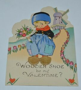 Vintage Wooden Shoe Be My Valentine Valentines Day Greeting Card Rare