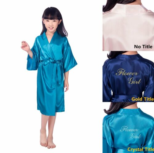 UK Personalized Flower Girl Kid Kimono Robe Nightwear Wedding Dressing Gown 4-12