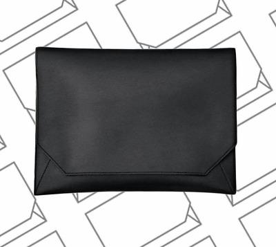 Men/'s VEGAN Leather Business Portfolio Briefcase Envelop Clutch Bag Black Sturdy